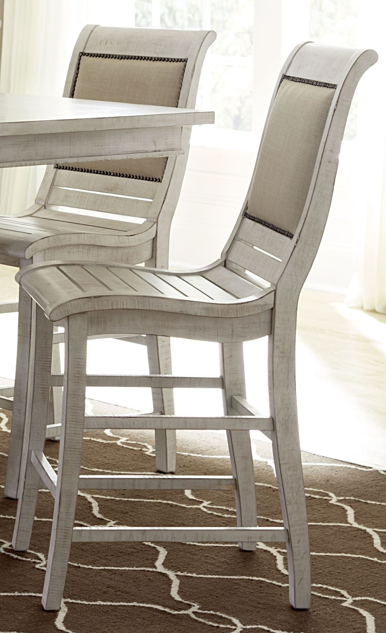 Distressed White Dining Chairs Willow Distressed White Counter Upholstered Chair Set Of 2