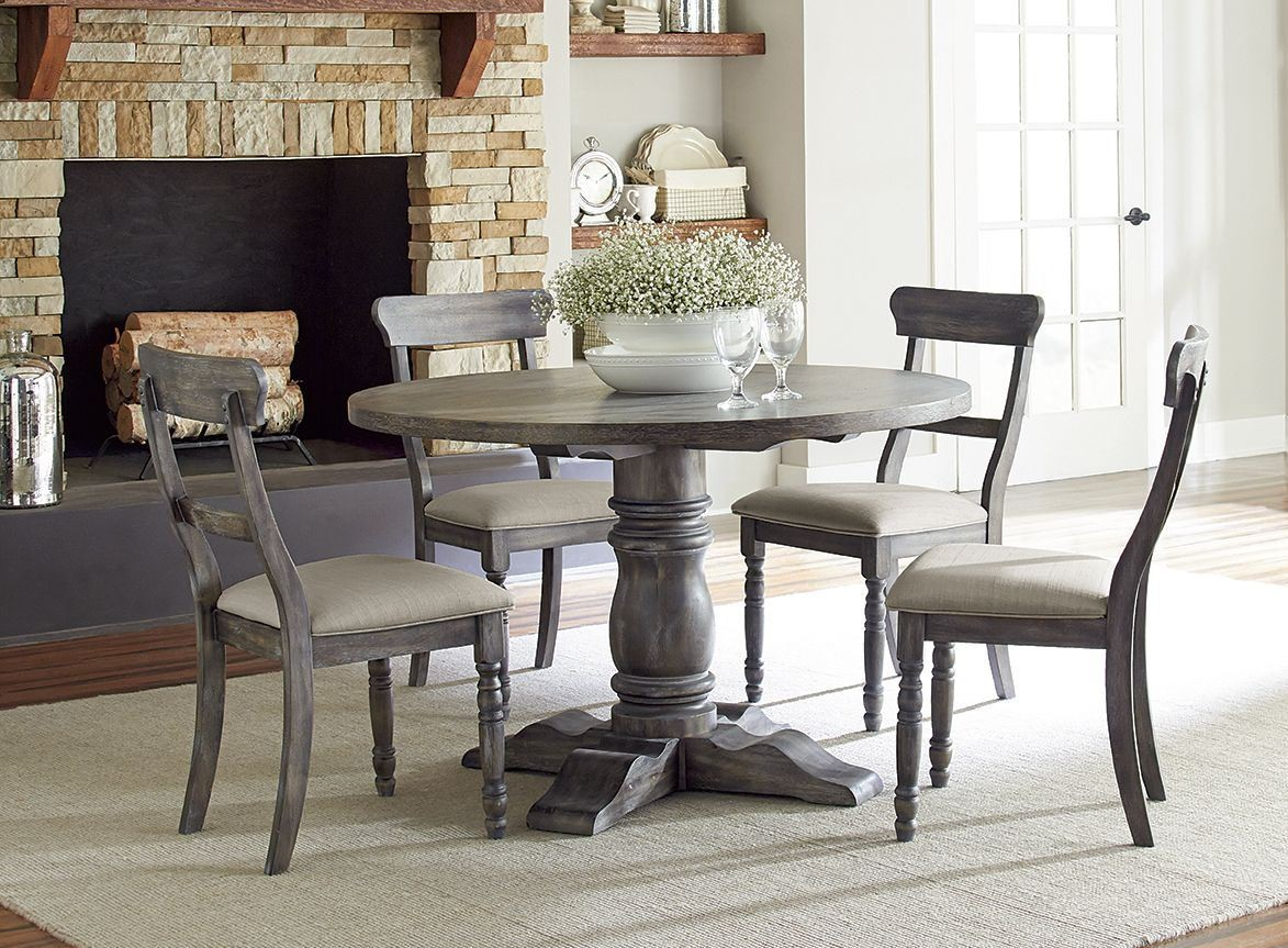 Gray Dining Room Chairs Muses Dove Grey Muses Round Dining Room Set From