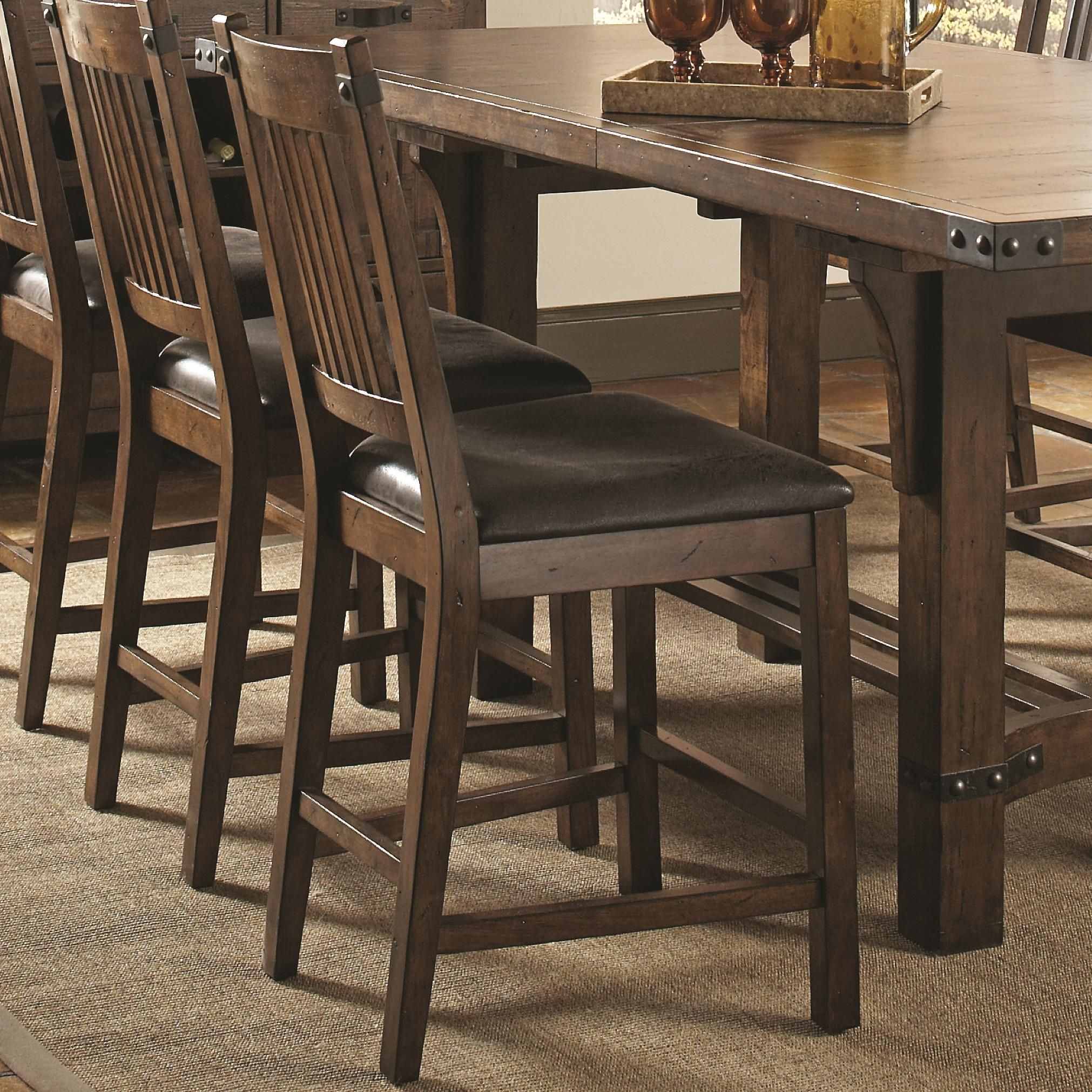 counter height chairs set of 2 walnut dining chair padima rustic leather from