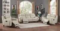 Paramount Cream Leather Power Reclining Living Room Set ...