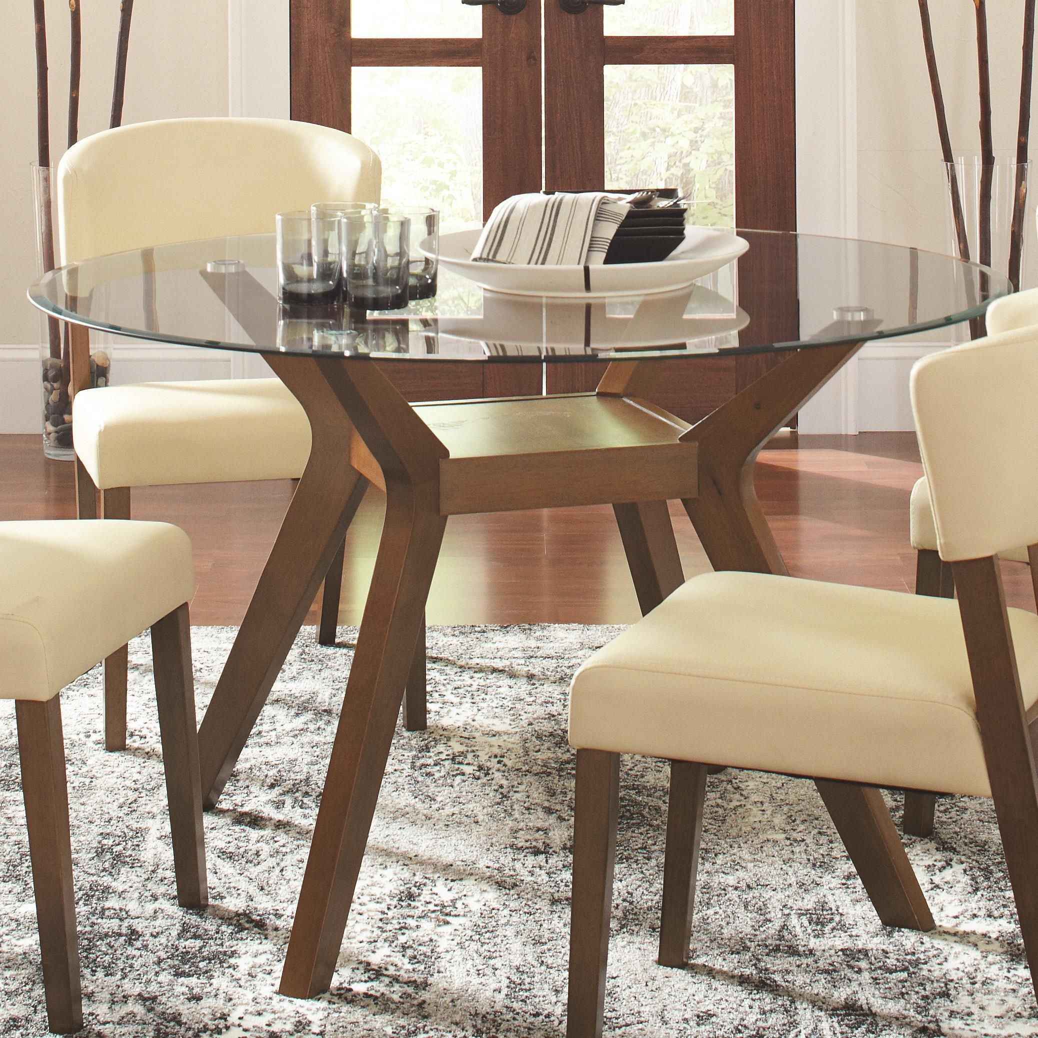Paxton Round Glass Dining Table from Coaster 122180CB48RD  Coleman Furniture
