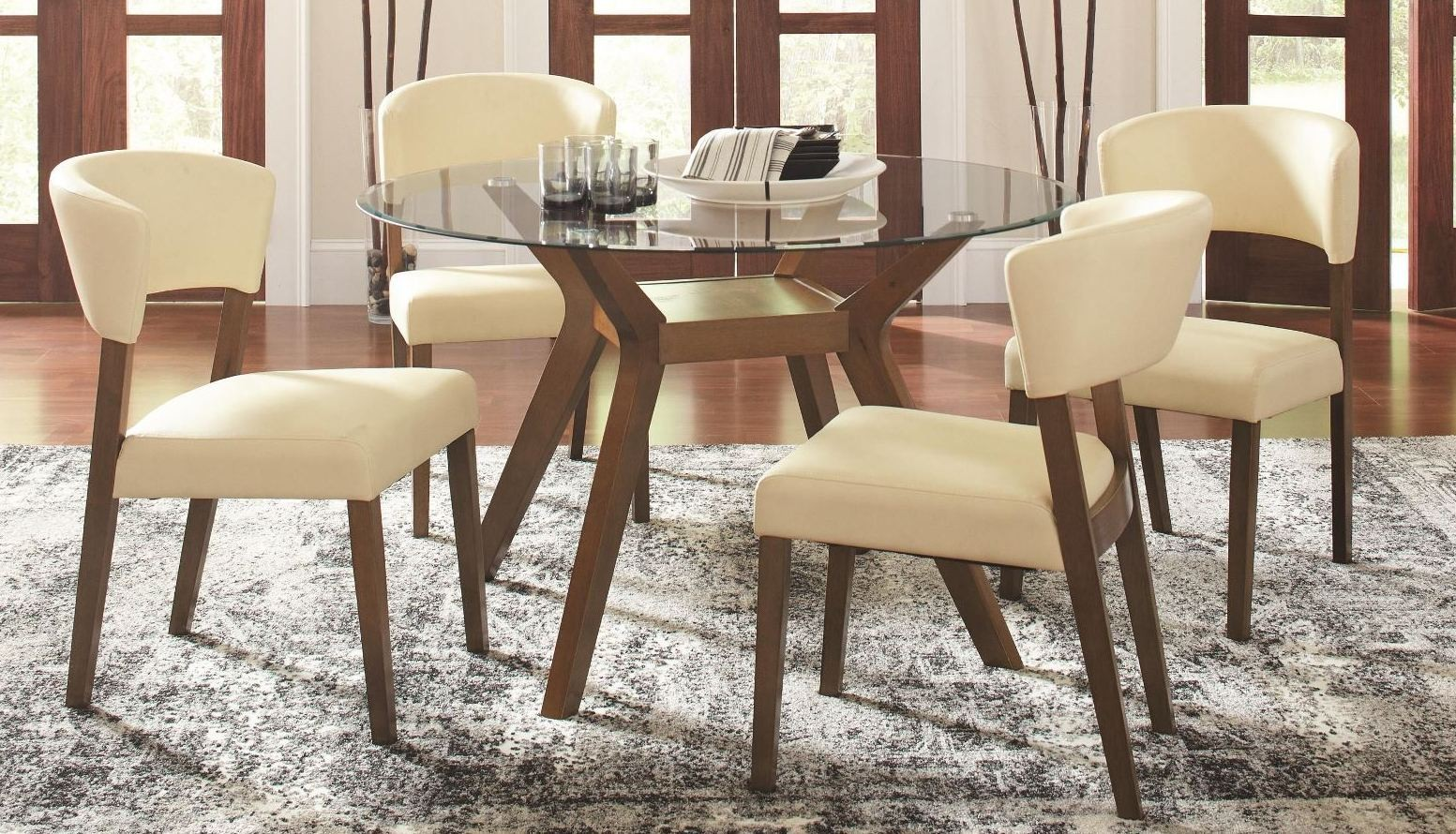 Paxton Round Glass Dining Room Set from Coaster 122180CB48RD  Coleman Furniture
