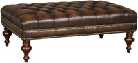 Kingley Brown Tufted Cocktail Leather Ottoman from Hooker