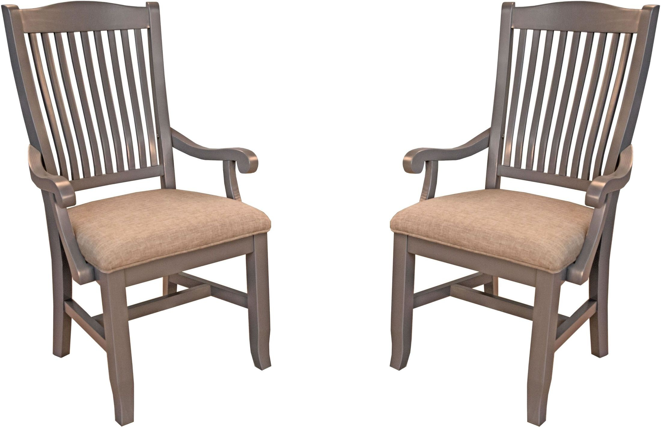 Grey Upholstered Chair Port Townsend Grey Slat Back Upholstered Arm Chair Set Of
