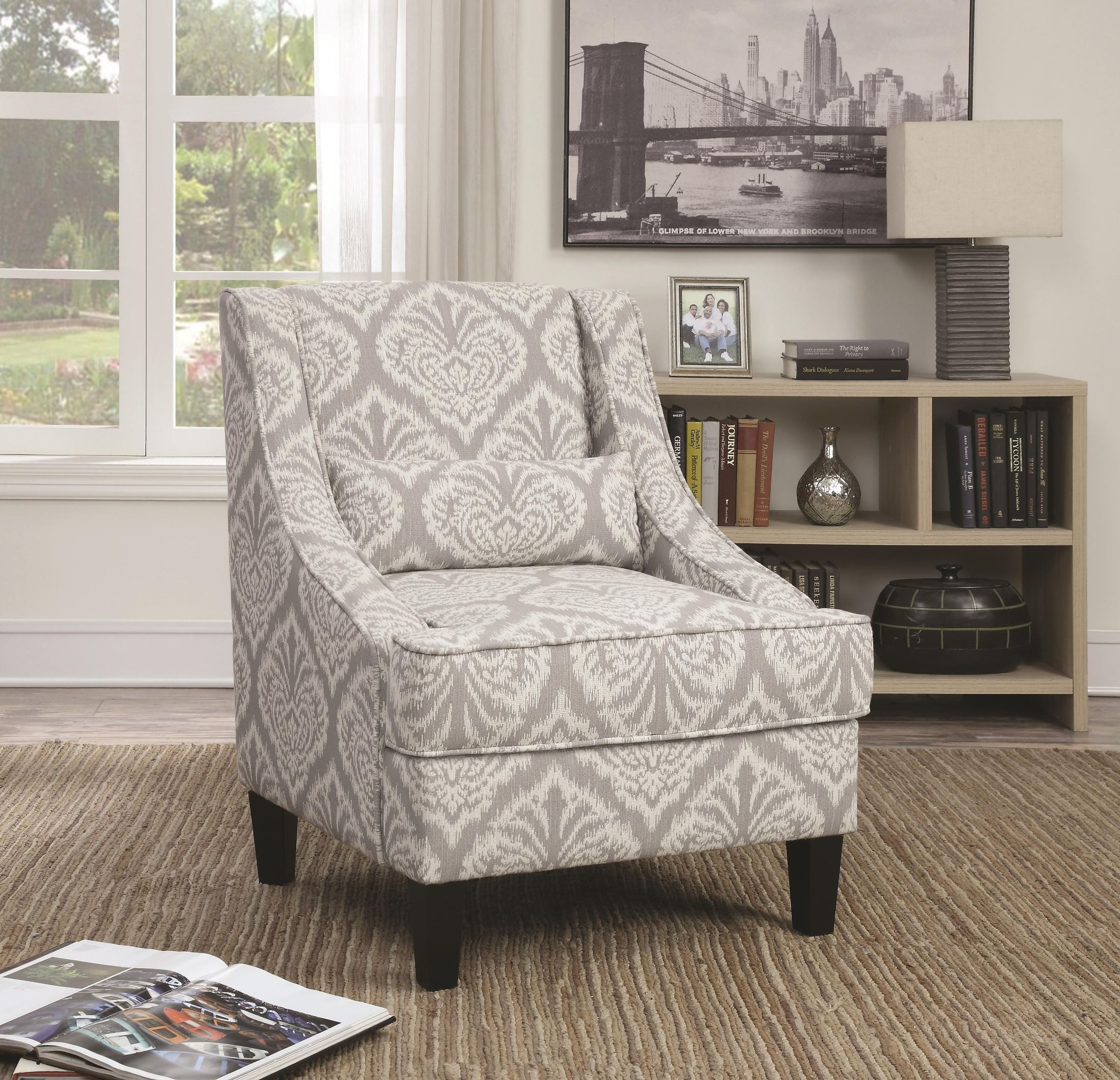 grey and white accent chair bjs office chairs jacquard from coaster 902412
