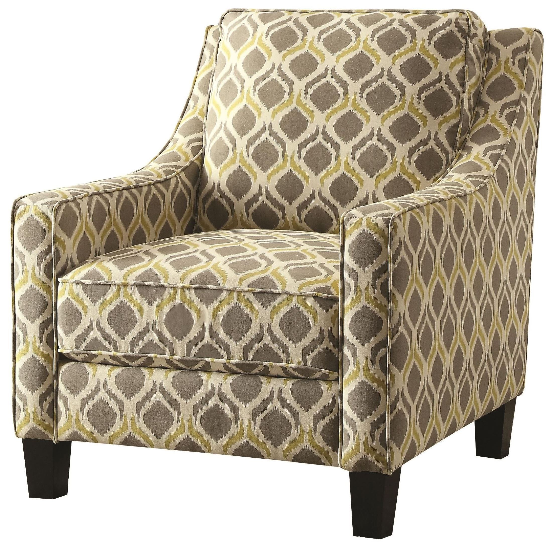 gray and yellow accent chair with swivel table grey pattern from coaster 902428