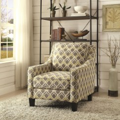 Gray And Yellow Accent Chair Swivel Keeps Going Up Grey Pattern From Coaster 902428
