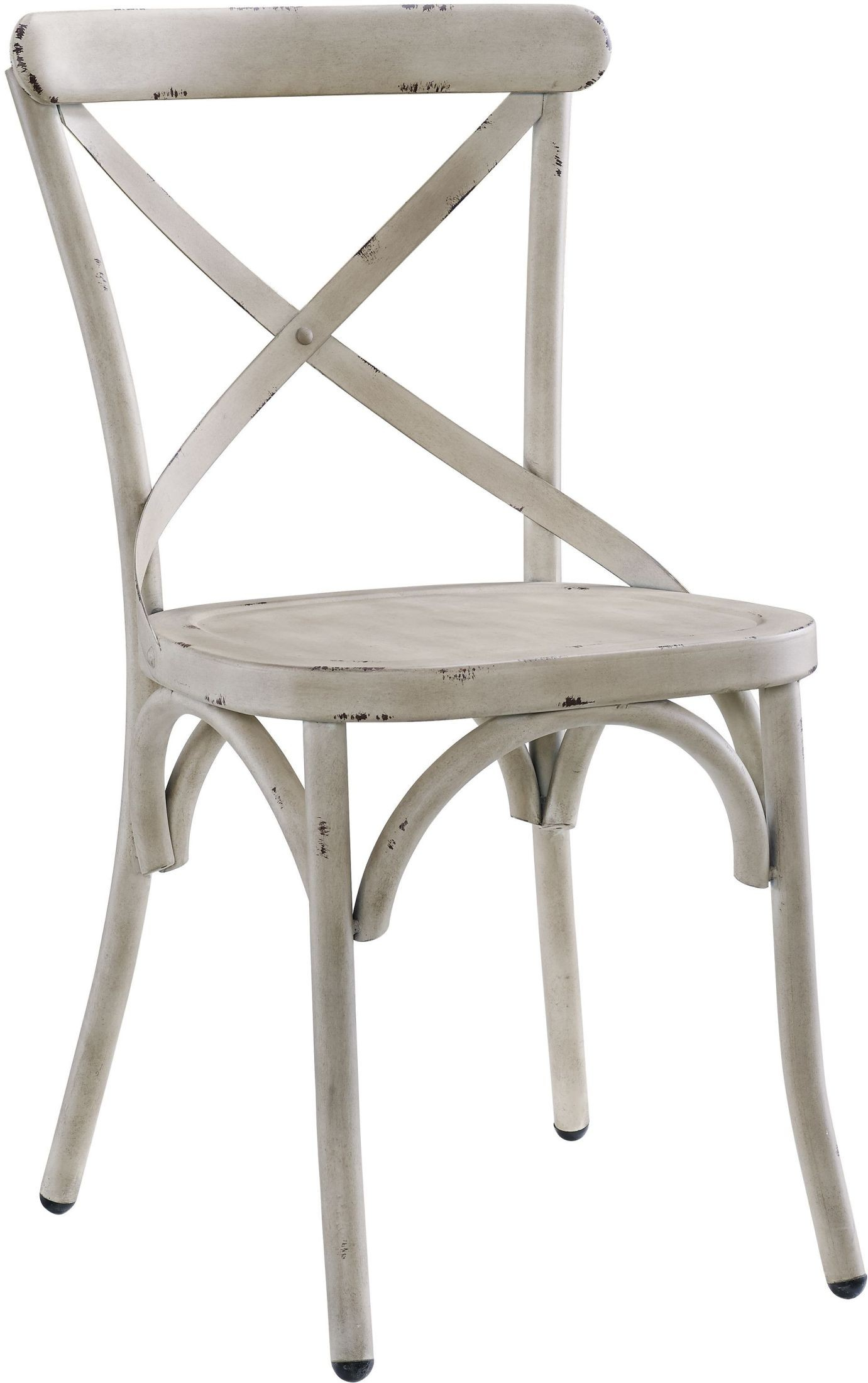 White Metal Chair Distressed Antique White Metal Dining Chair Set Of 2 From