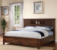 Restoration Rustic Walnut Platform Storage Bedroom Set ...
