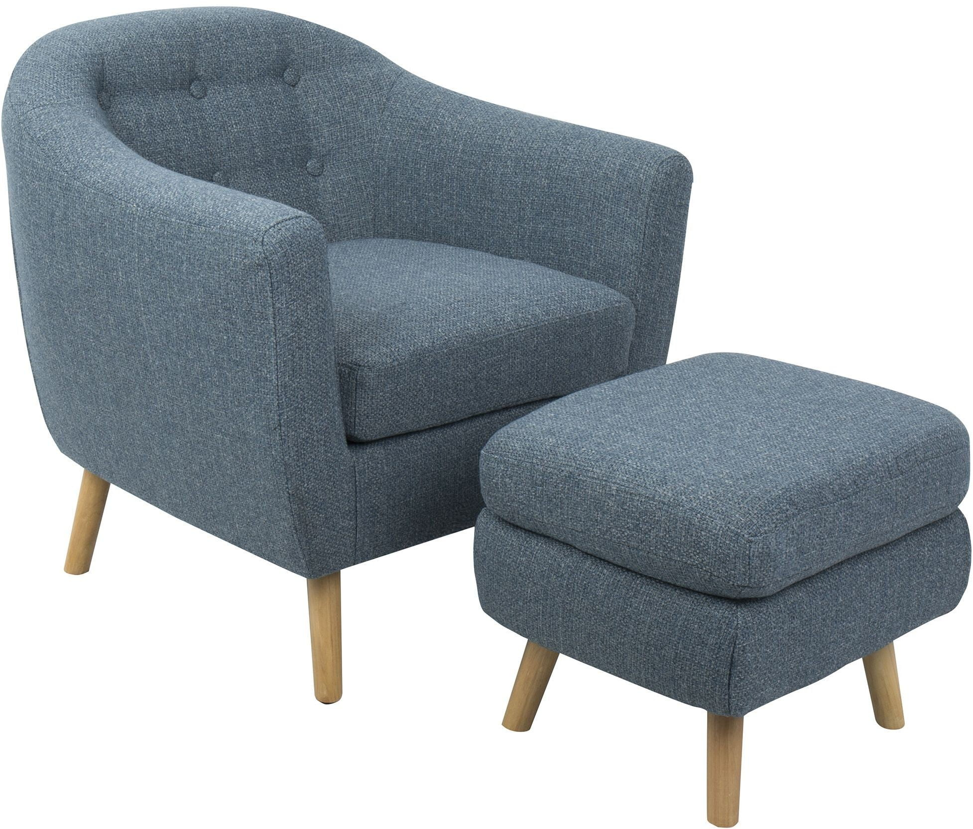 accent chair and ottoman for girls room rockwell blue from lumisource
