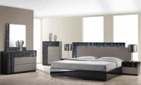 Roma Black and Grey Lacquer Platform Bedroom Set from J&M