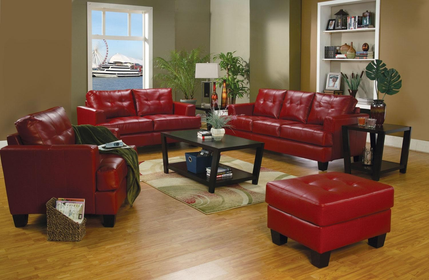 The leather sofa has long been a staple in thoughtfully curated homes, because, well, it does it all. Samuel Red Leather Living Room Set - 501831 from Coaster ...