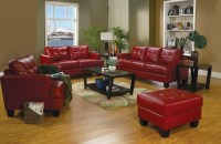 Samuel Red Leather Living Room Set - 501831 from Coaster ...