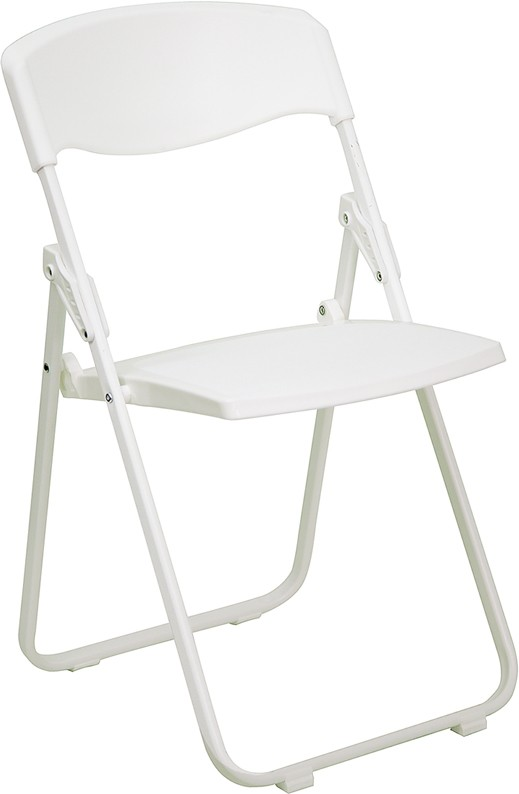 Hercules Heavy Duty White Plastic Folding Chair from