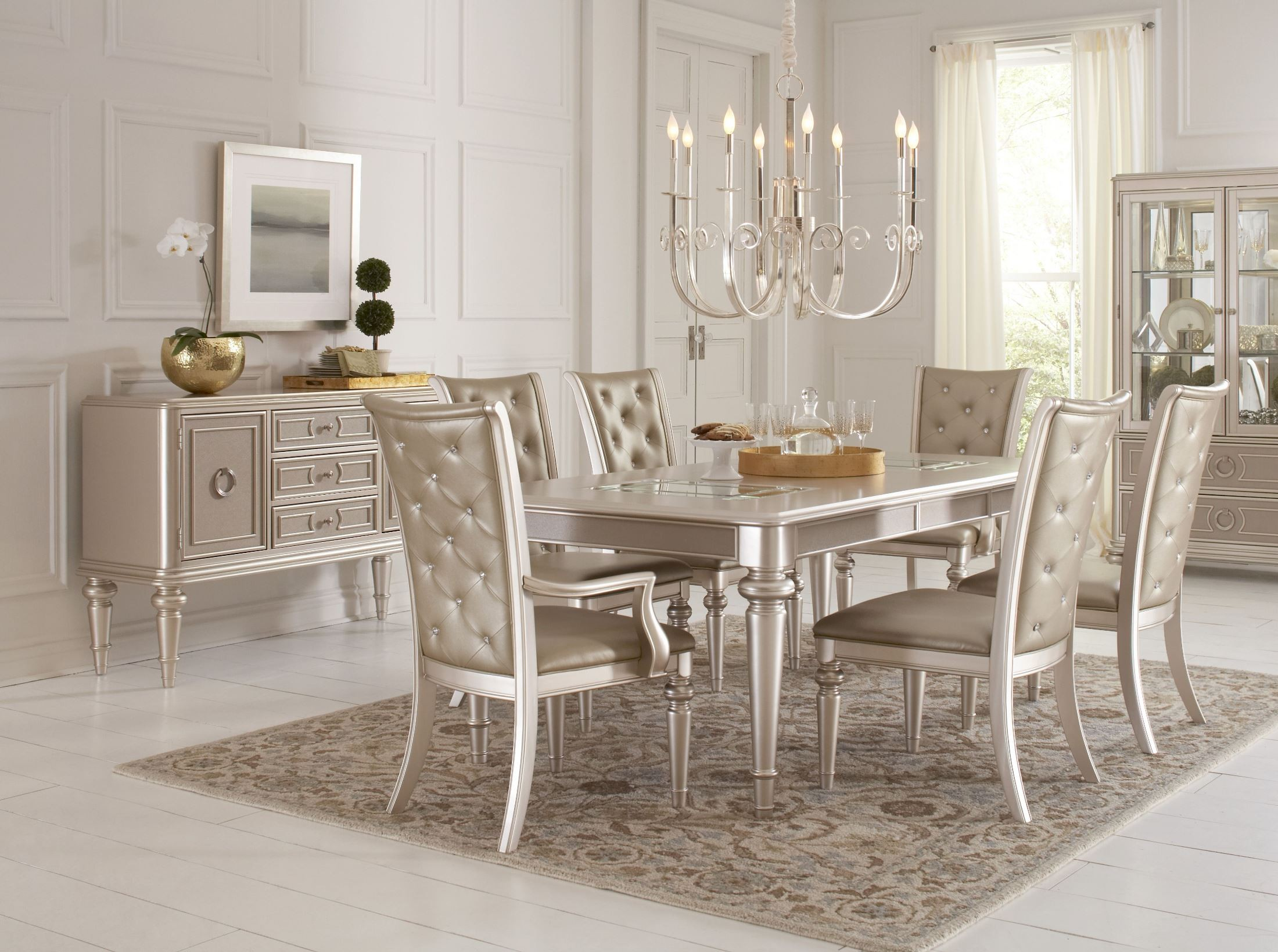 Dynasty Gold Metallic Extendable Rectangular Leg Dining Room Set from Samuel Lawrence  Coleman