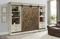 Savannah 5 Piece Sliding X Barn Door Entertainment Wall ...