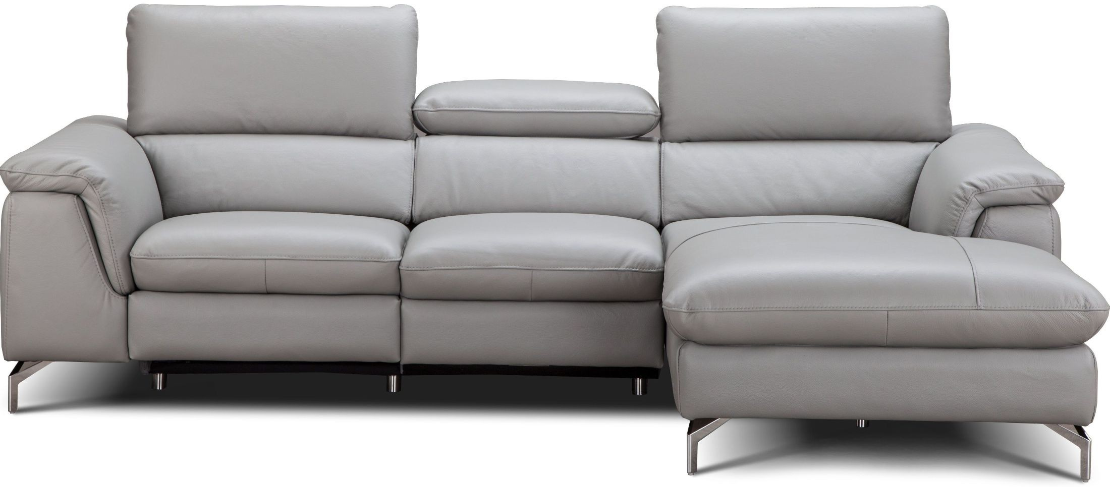 light gray leather reclining sofa large oval shaped serena premium power raf