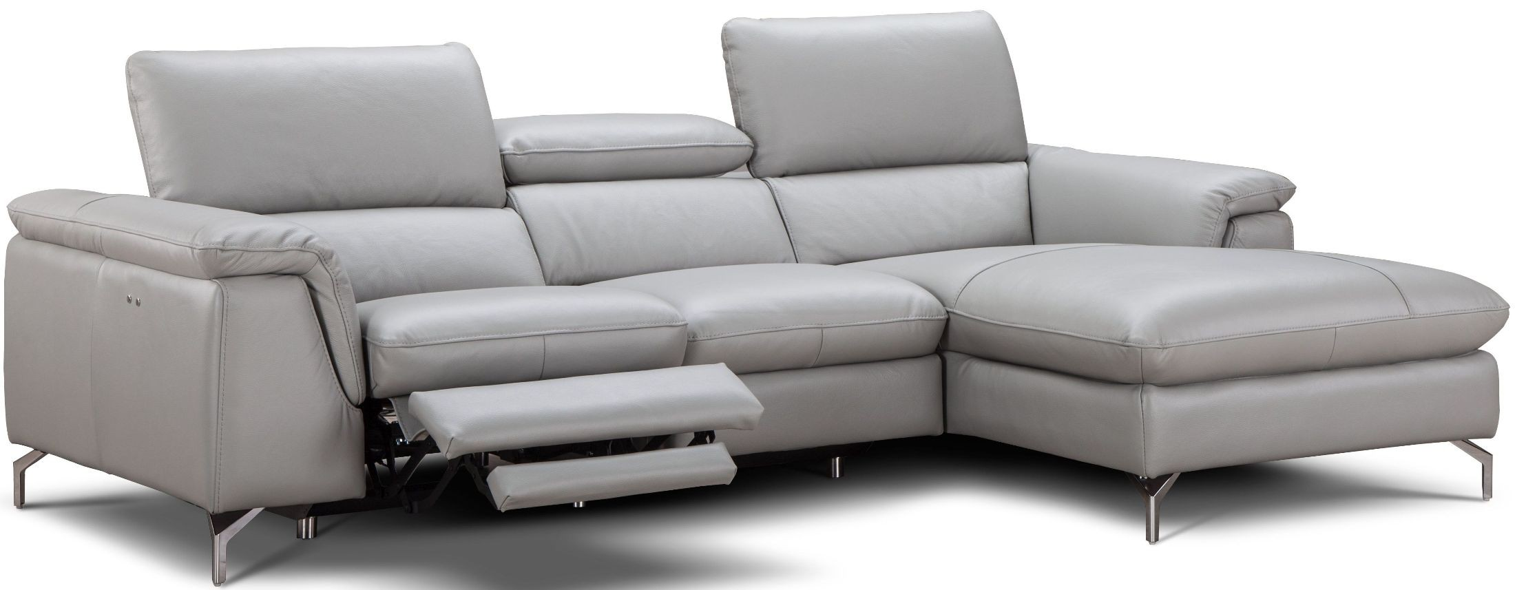 light gray leather reclining sofa plastic covers for sofas serena premium power raf