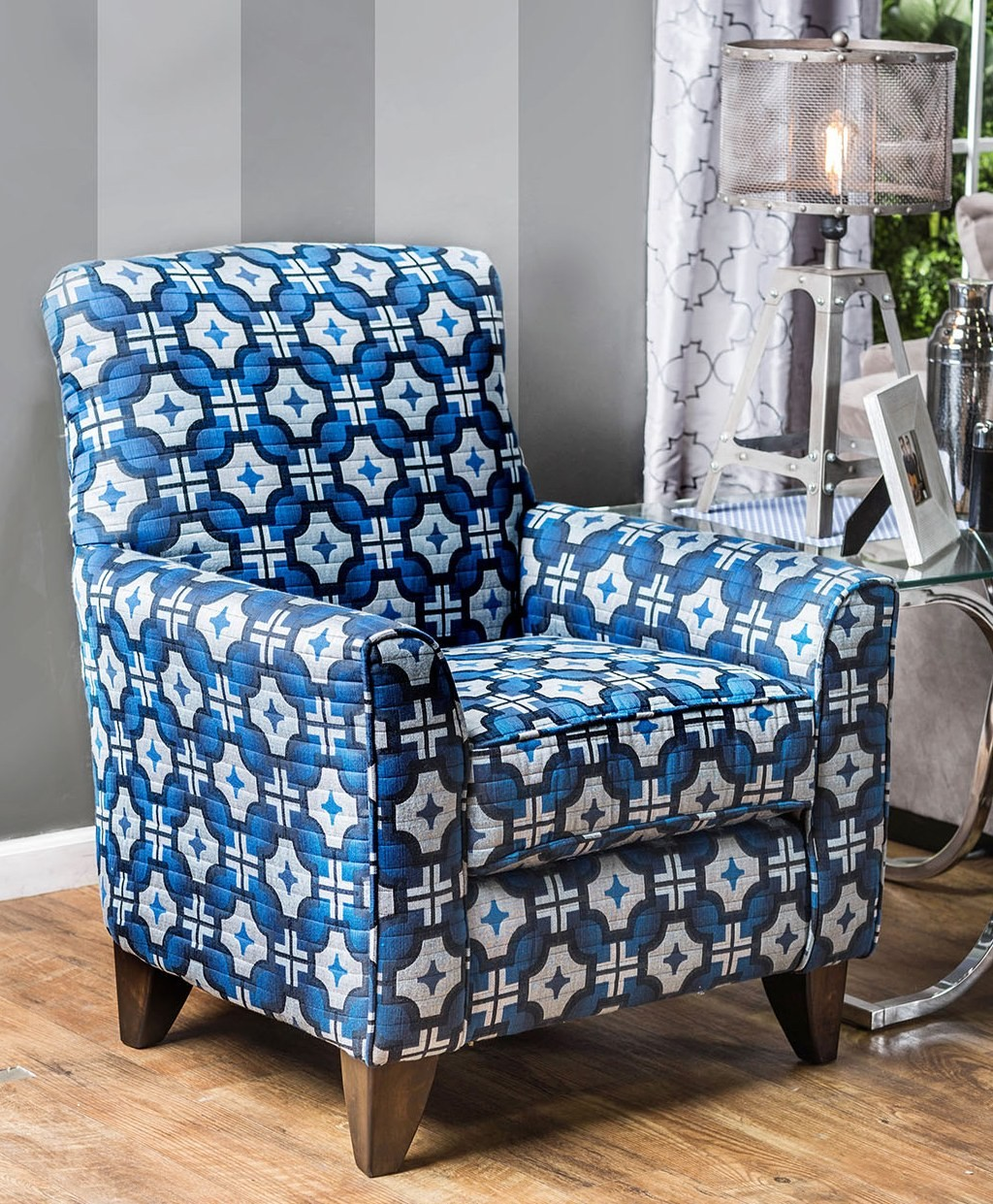 Pattern Chair Navan Blue Geometric Pattern Chair Sm1222 Ch Furniture