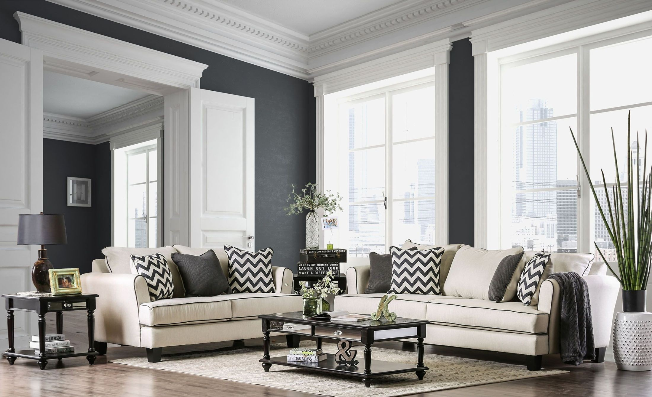 Percey OffWhite Living Room Set from Furniture of America