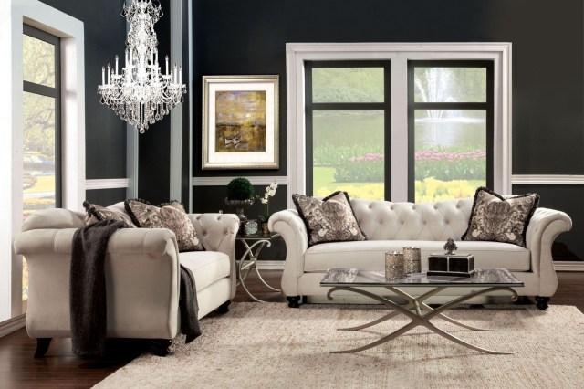 Antoinette Beige Premium Fabric Living Room Set from ...