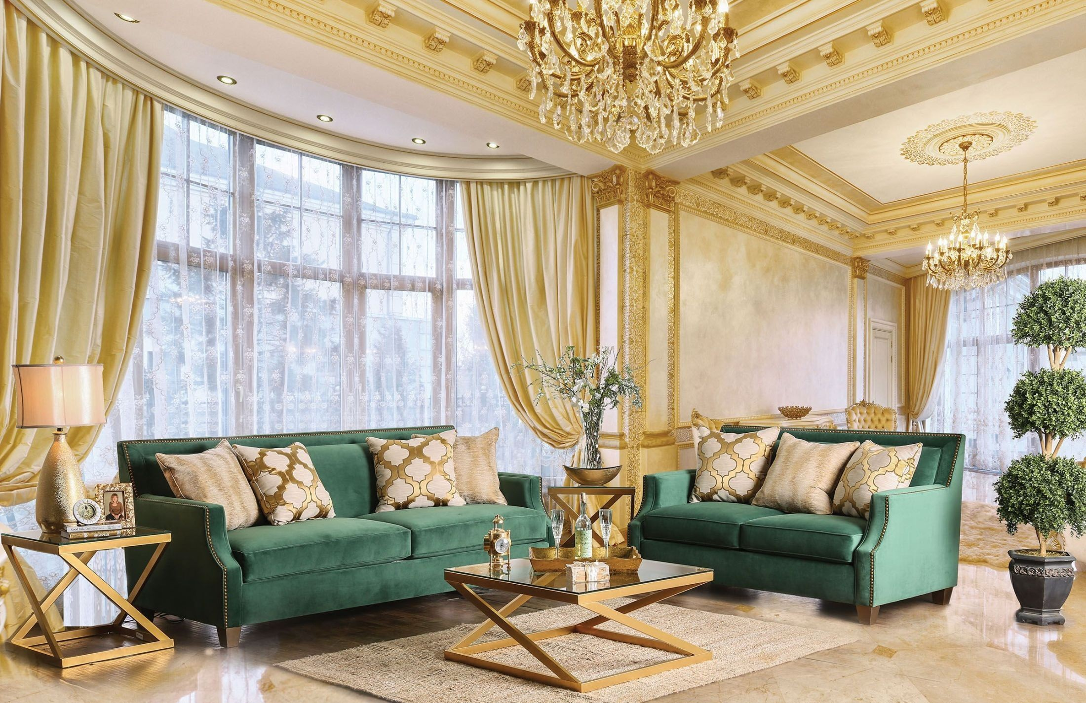 Verdante Emerald Green Living Room Set from Furniture of