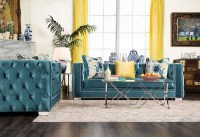 Salvatore Turquoise Living Room Set, SM2282-SF, Furniture ...