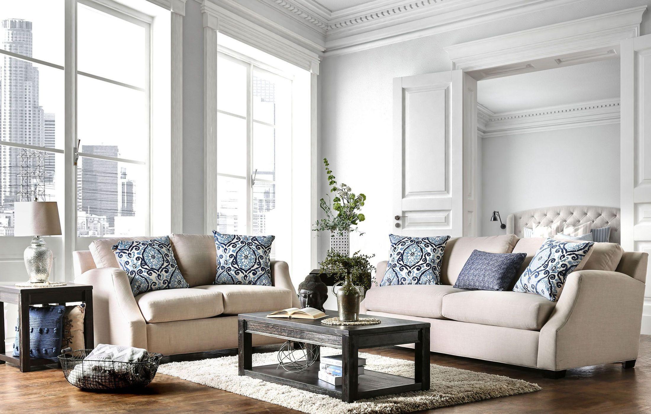 Beltran Blue And Beige Living Room Set, SM3057-SF