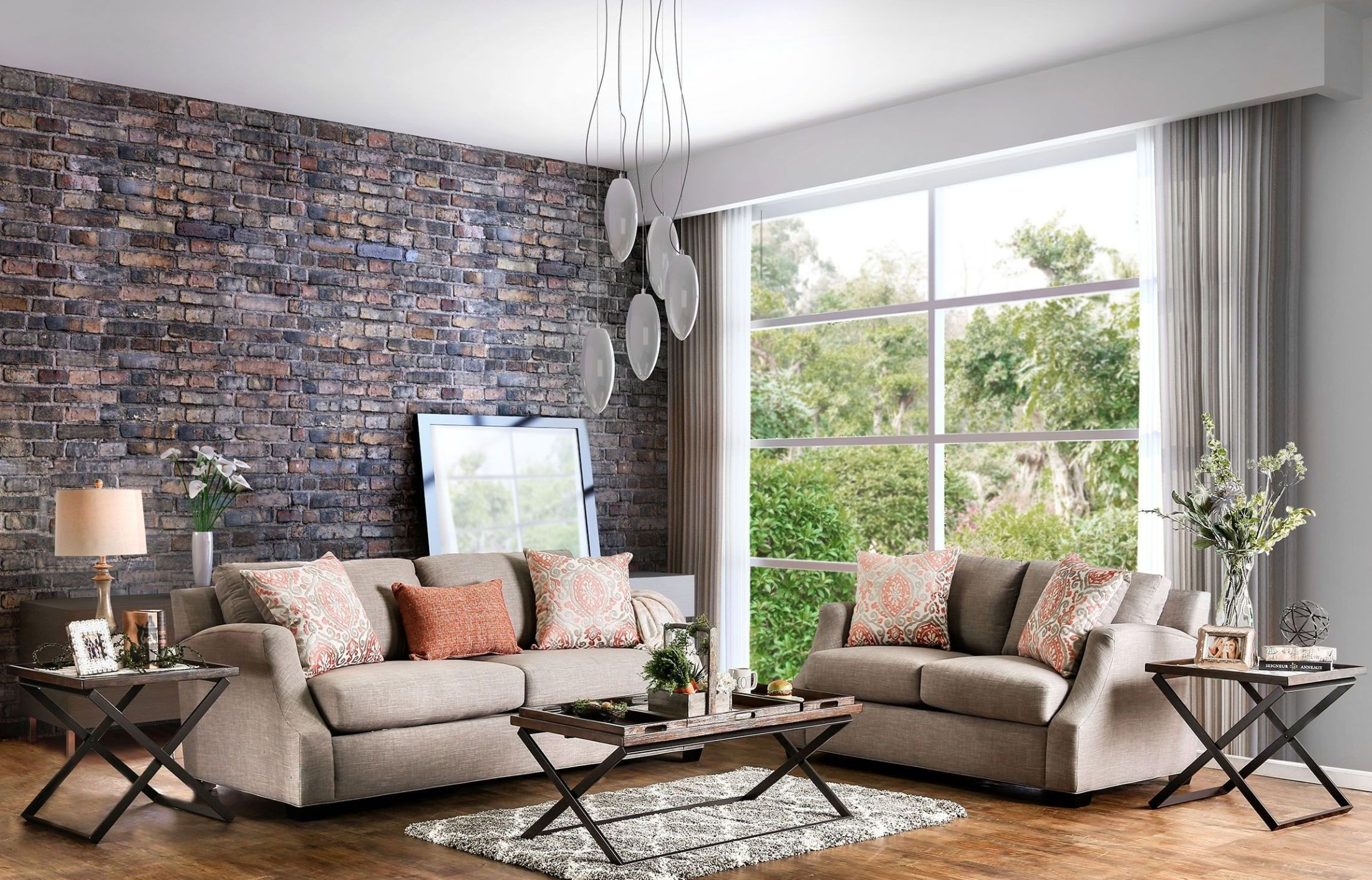 Beltran Orange and Light Gray Living Room Set, SM3058