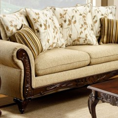 Tan Fabric Sofa 3 Seater With Chaise Longue Doncaster From Furniture Of America