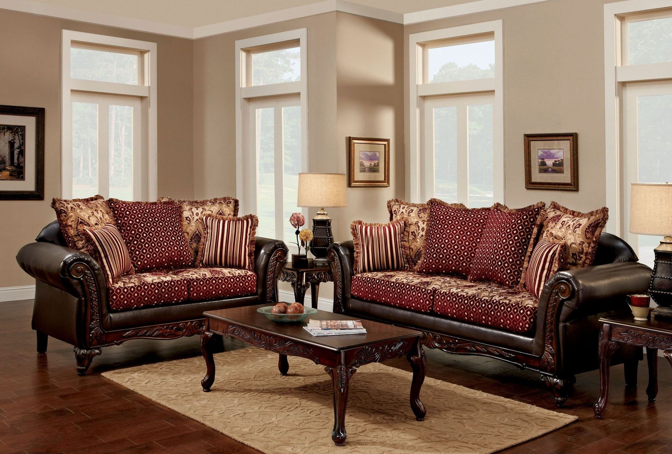 burgundy and brown living room ebay furniture ellis set from of america 2059004