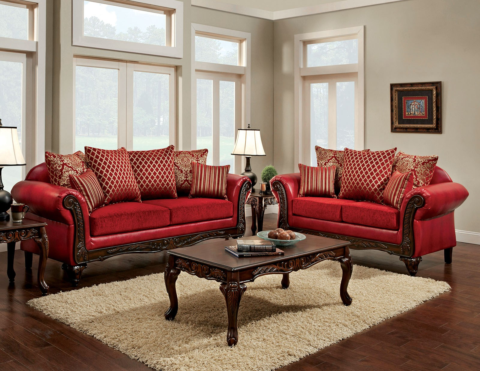 Marcus Red Living Room Set SM7640SF Furniture of America