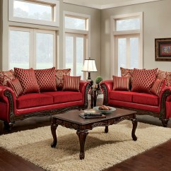 Living Room Red Sofa Small Space Ideas Marcus Set Sm7640 Sf Furniture Of America