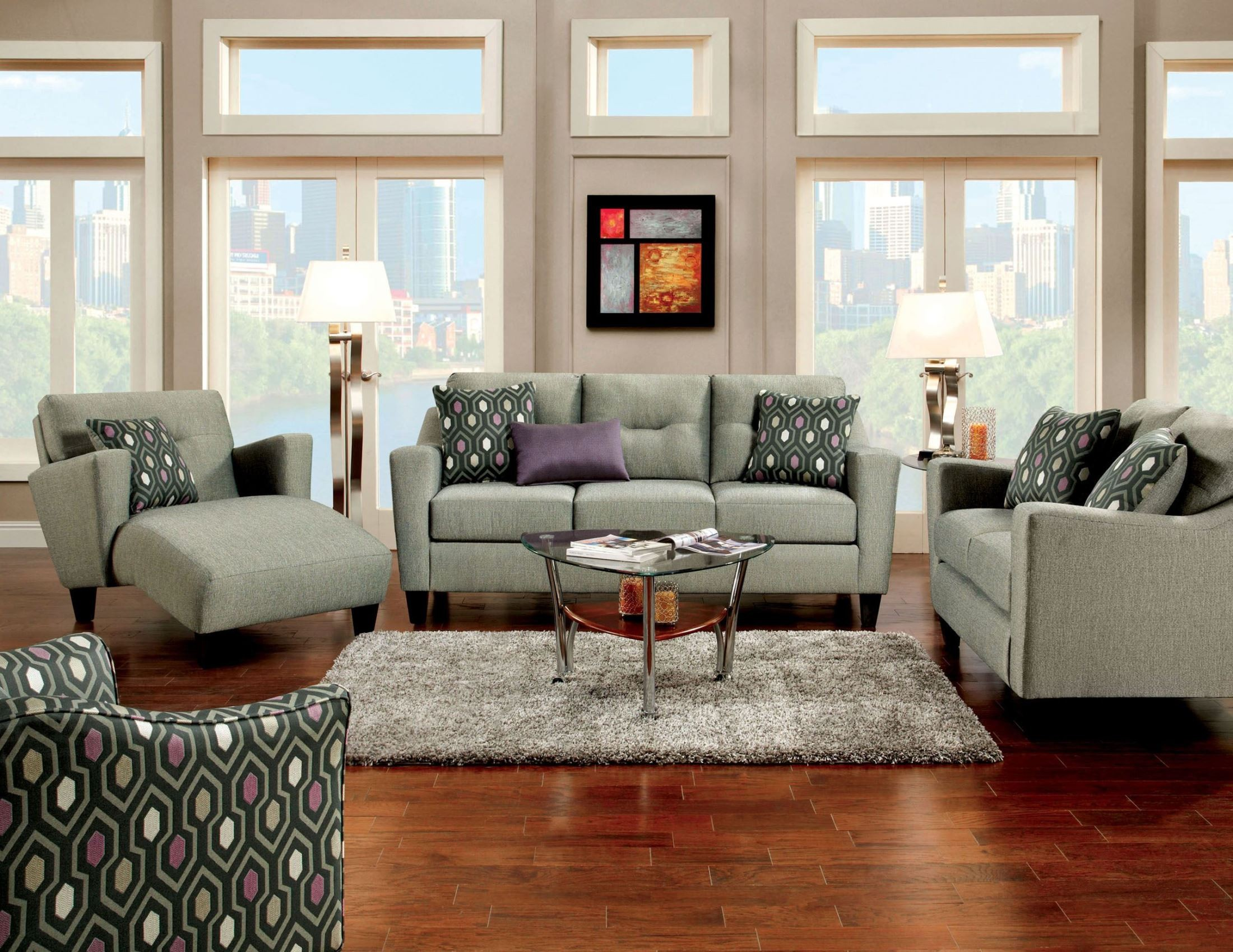 Grey Living Room Chairs Coltrane Gray Fabric Living Room Set From Furniture Of