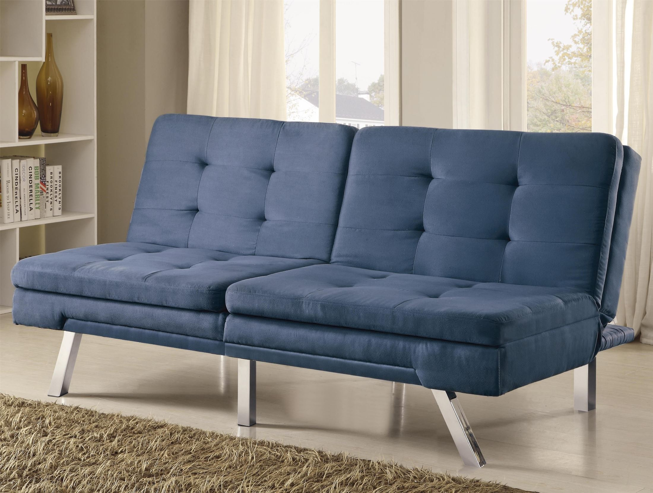 white tufted sofa bed low profile legs 300212 blue microfiber split back from