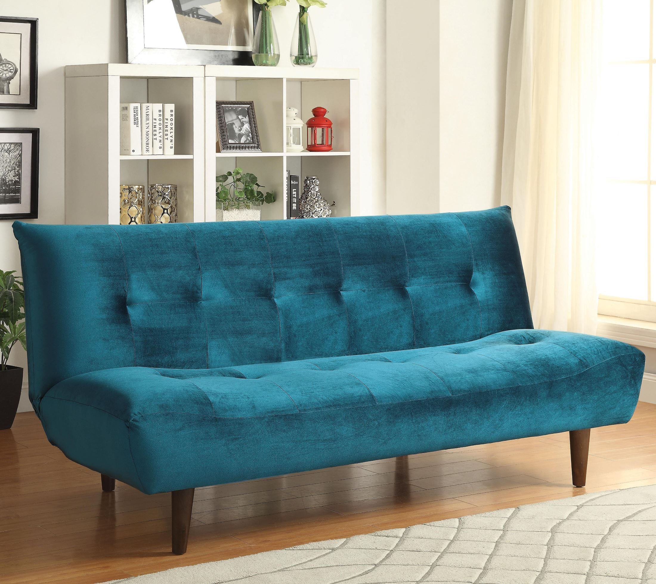 500098 Teal Velvet Tufted Sofa Bed from Coaster (500098