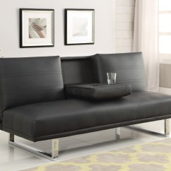 Sofa Records Philadelphia Black Microfiber Sleeper 500155 Leatherette Bed From Coaster