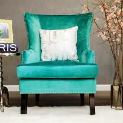 Turquoise Wingback Chair Saucer Soho Velvet Wing From Tov Wil Tv