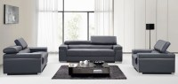 Soho Grey Leather Living Room Set from J&M (176551113-S-GR ...