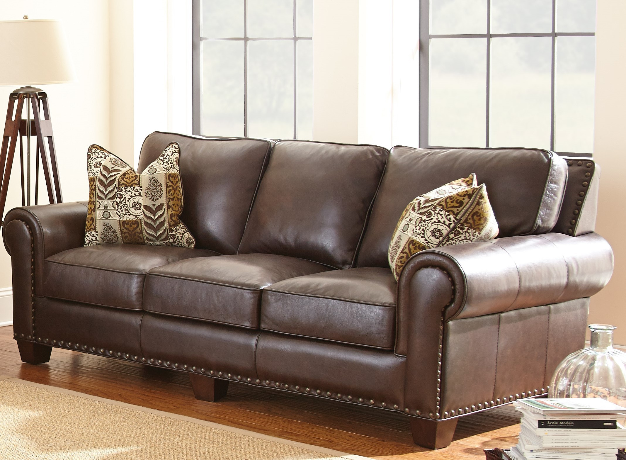 leather sofa cushions made to measure motif cover bed inoac escher top grain with 2 accent pillows from