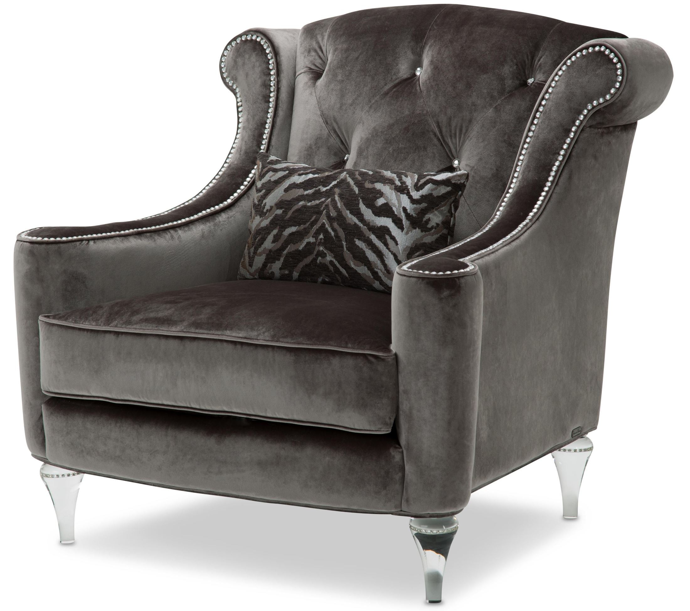 Studio Chairs Studio Adele Gray Tufted Chair St Adele35 Dsk 002 Aico
