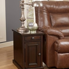Chair Side End Table Modern Black Leather Dark Brown Power Chairside From Ashley (t127-551) | Coleman Furniture