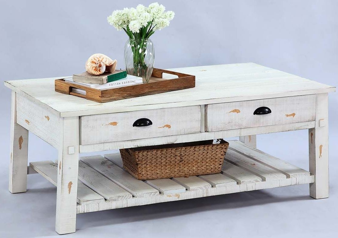 Willow Distressed White Rectangular Cocktail Table, T410