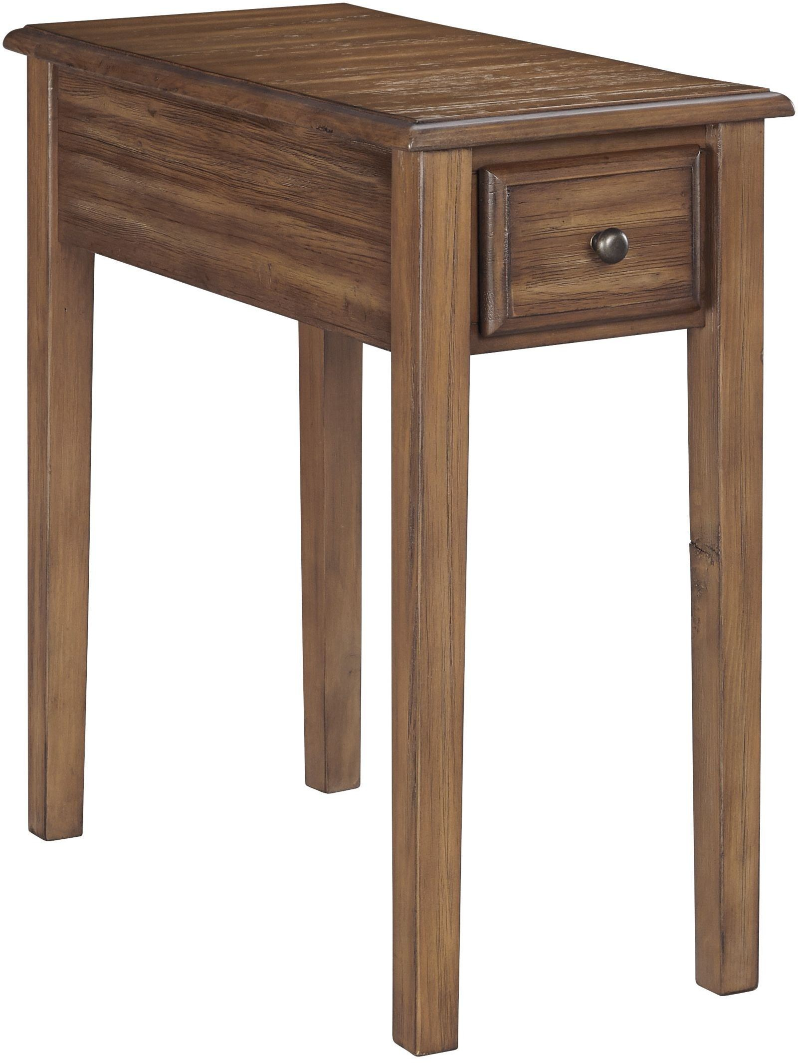side table for recliner chair black spandex covers rental warm brown end from ashley coleman