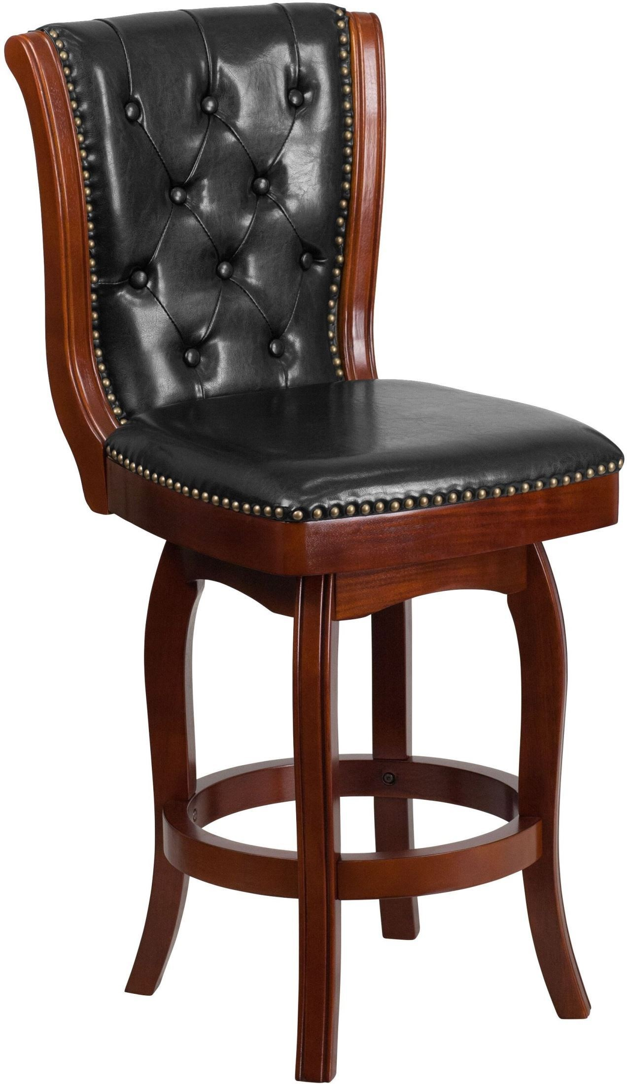 Cherry Chairs 26inch Black Swivel High Cherry Wood Counter Chair Min