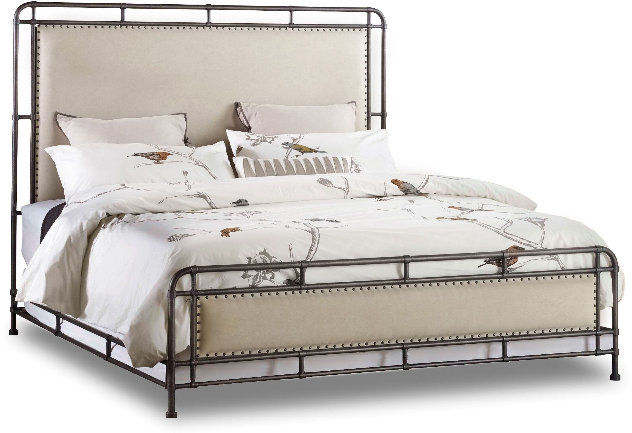 Studio 7H Beige Slumbr Queen Metal Upholstered Panel Bed