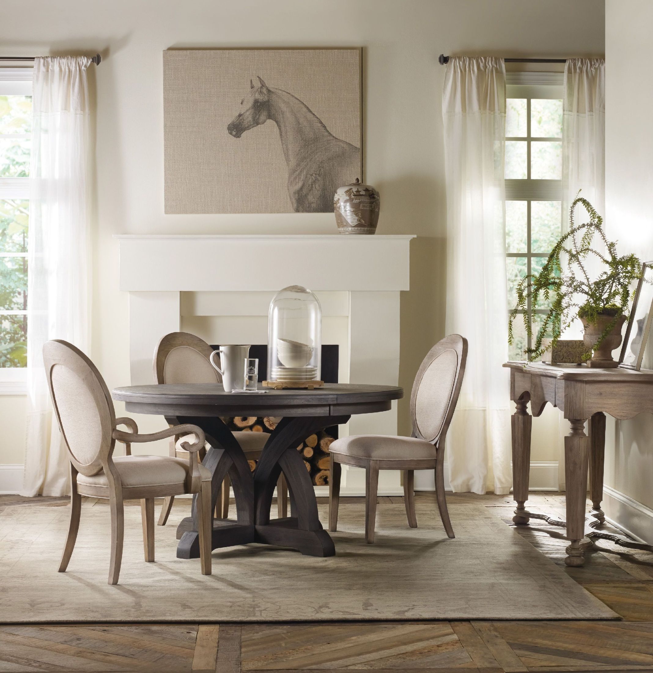 Corsica Light Wood Round Extendable Dining Room Set from Hooker  Coleman Furniture