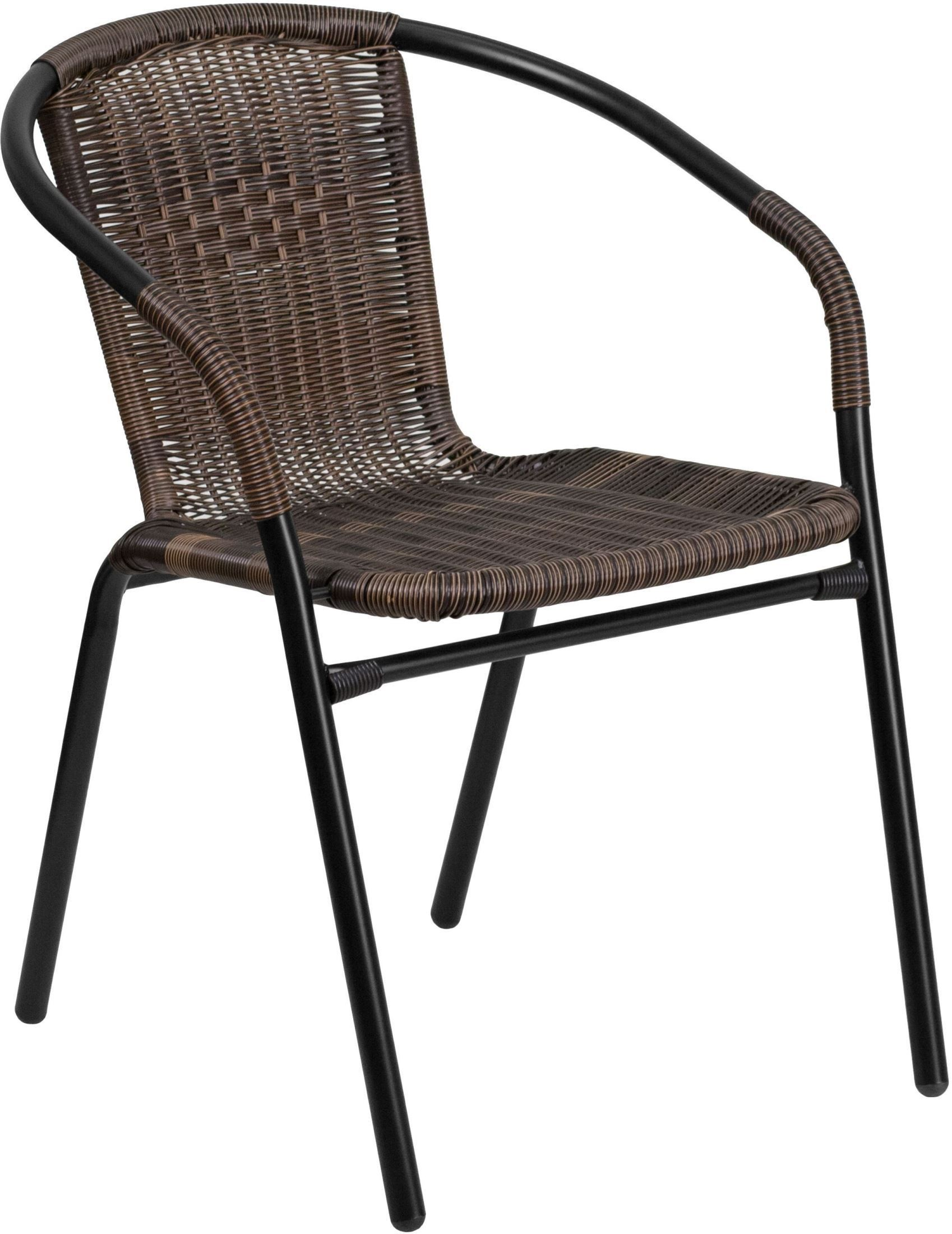 White Metal Chair Dark Brown Rattan Indoor Outdoor Restaurant Stack Chair