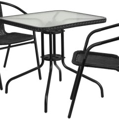 2 Chairs And Table Rattan Chair Standards 28 Quot Square Glass Metal With Black Edging