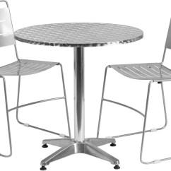 Metal Stacking Chairs Outdoor Queen Anne Dining Room 27 5 Quot Round Aluminum Indoor Table With 2 Silver